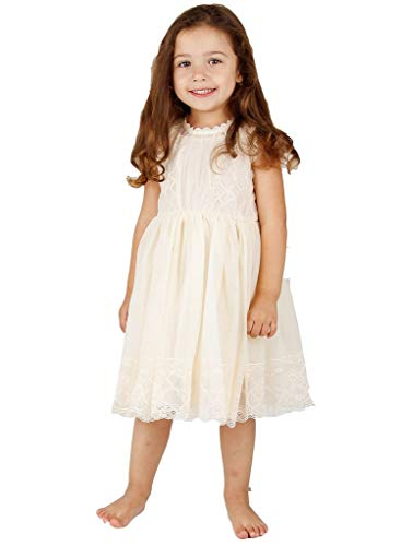 Bow Dream Lace Vintage Flower Girl's Dress Ivory 6