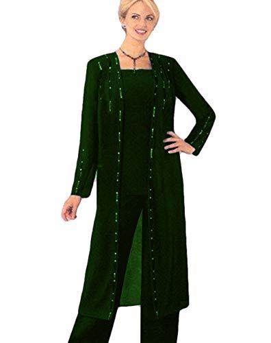 Perlenbesetzte lange Ärmel Mother of the Bride Hose Anzug Chiffon Übergröße formelles Abendkleid Gr. 32, smaragdgrün