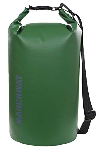 MARCHWAY Floating Waterproof Dry Bag 5L/10L/20L/30L/40L, Roll Top Sack Keeps Gear Dry for Kayaking, Rafting, Boating, Swimming, Camping, Hiking, Beach, Fishing (Dark Green, 40L)