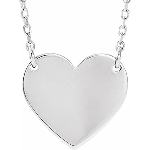 Collar de oro blanco de 14 quilates de 8 x 7,2 mm, sin grabado, 16 pulidos en forma de corazón, joyería de regalo para mujeres – 46 centímetros