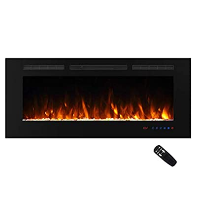 """Masarflame 36"""" Recessed Electric Fireplace Insert, 5 Flame Settings, Log Set or Crystal Options, Temperature Control by Touch Panel & Remote, 750/ 1500W Heater"""