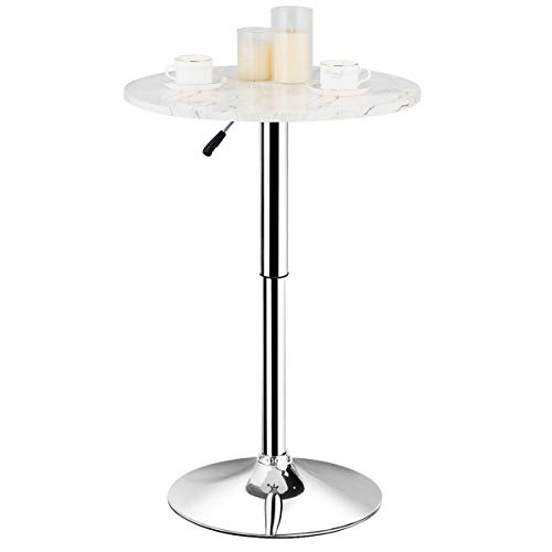 Giantex Round Pub Table Height Adjustable, 360° Swivel Cocktail Pub Table with Sliver Leg and Base for Home, Office Bar Table (White) (1)