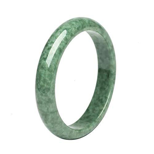 nanshoudeyi Natürliches Jade-Armband, heilende Energie, handschneidend, grüner Jadestein, Armreif für Frauen (Innendurchmesser: 55–56 mm)