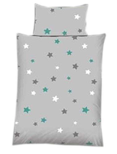 Baby Bettwäsche Sterne/Stars grau Baumwolle 100 x 135 cm & 40 x 60 cm mit Reißverschluss (petrol)