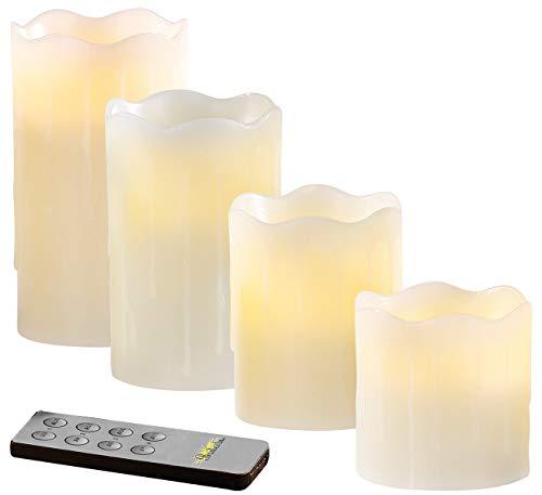 Britesta Adventskerzen: 4 flackernde LED-Echtwachskerzen mit abgestufter Höhe, weiß (Kerzen mit Timer)