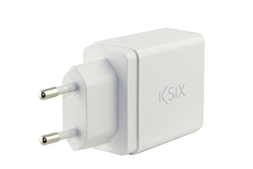 Ksix BXCDUSB1Q3B - Cargador de Red USB (tecnología Quickcharge 3.0, 5 V /2.4 A, 9 V / 2 A, 12 V / 1.5 A) Color Blanco