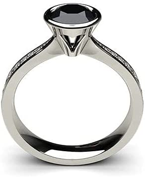 0.50 CT Natural Black Diamond Engagement Ring For Women Real 14KT White Gold Stone Round Cut Solitaire With Accent Wedding Anniversary Bezel Setting (0.50 Carat Center, 0.85 cttw, Clarity SI) Rings Ladies Bridal