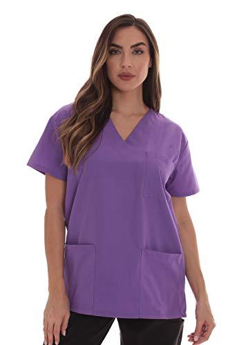 Just Love Solid Damen Top mit Taschen und V-Ausschnitt -  Violett -  2X