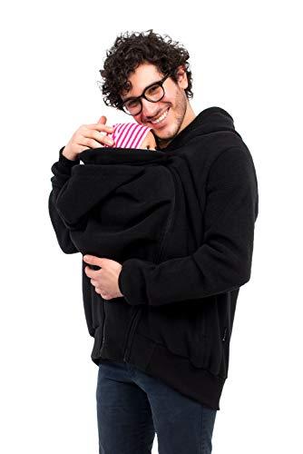 Viva la Mama - Tragejacke für Männer Papa Jacke für Vorn und Hintentragen Rückentrage Mann Babytragejacke One4Two - schwarz - XXL