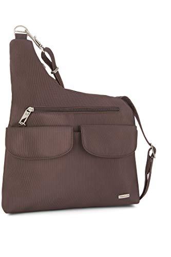 Travelon Anti-Theft Classic Crossbody Bucket Bag (Chocolate/Light Blue Lining)