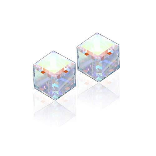 Magische und mystische Aurora Borealis Glänzend Kristall Eiswürfel Ohrstecker mit nie Rost 925 Sterling Silber Natürliche und Hypoallergen Kette, für Frauen, Mädchen und Teens