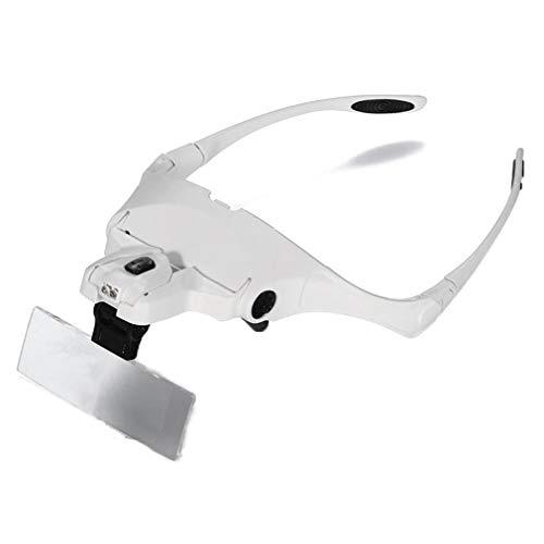 1 vergroting/1,5 x / 2 x / 2,5 x / 3,5 x (5 lenzen kunnen worden vervangen), vergrootglas voor brillen, vergrootglas in de kop, LED-vergrootglas, vergrootglas