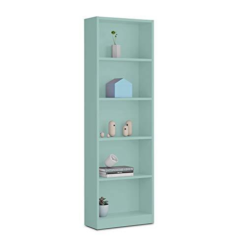 Habitdesign 005422J - Estantería Juvenil Dormitorio 6 baldas, librería Vertical Acabado en Color Verde Acqua, Modelo I-Joy, Medidas: 180 cm (Alto) x 52 cm (Ancho) x 25 cm (Fondo)