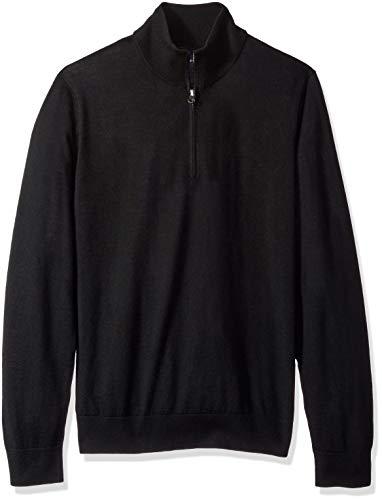 BUTTONED DOWN Men's Italian Merino Wool Lightweight Cashwool Quarter-Zip Sweater, Black, Medium