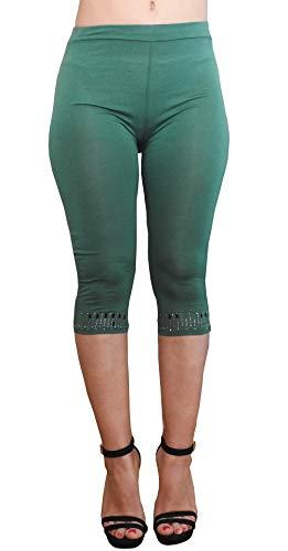 Lc06 - groen - applicatie op de rand - driekwart - 3/4 - legging - vrouw - elastische shorts - lente - zomer - one size strass