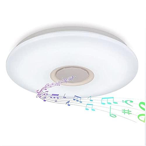 Lámpara De Techo Led Music Con Altavoz Bluetooth,Plafón Regulable RGB Con Control Remoto Y APP,Pantalla De Lámpara Estrellada 3D Para Cocina, Dormitorio Lámpara Colgante Inteligente,50cm60w