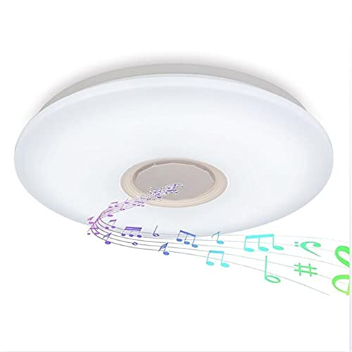 Lámpara De Techo Led Music Con Altavoz Bluetooth,Plafón Regulable RGB Con Control Remoto Y APP,Pantalla De Lámpara Estrellada 3D Para Cocina, Dormitorio Lámpara Colgante Inteligente,40cm48w