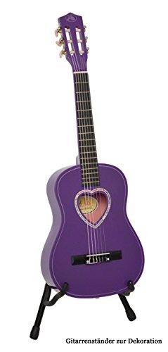 ts-ideen Kindergitarre 1/2 Akustik Klassik Gitarre mit Tasche und Gurt NEU (1/2, Lila mit Herz)