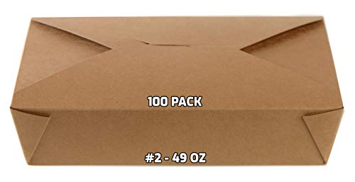 [100 PACK] Take Out Food Containers 49 oz Kraft Brown Paper Take Out Boxes Microwaveable Leak and Grease Resistant Food Containers - To Go Containers for Restaurant, Catering, Food Truck - Recyclable Lunch Box #2 by EcoQuality