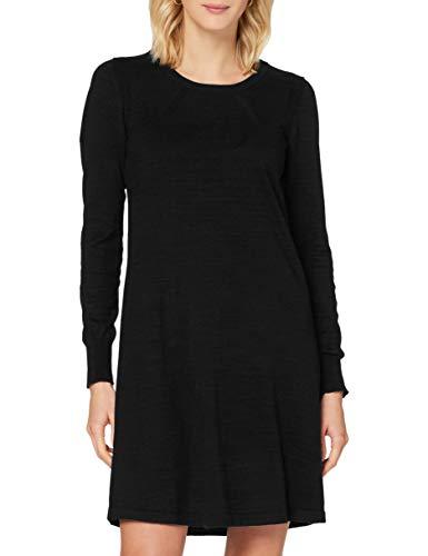 Noa Noa Damen Essential Cotton Cashmere Dress Long Sleeve,Above Knee Lässiges Kleid, Schwarz, S