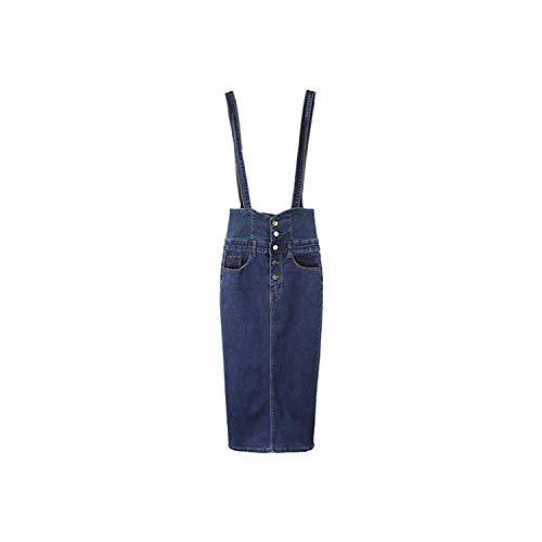 Faldas de mezclilla con botones para mujer, de cintura alta, falda de lápiz, de mezclilla