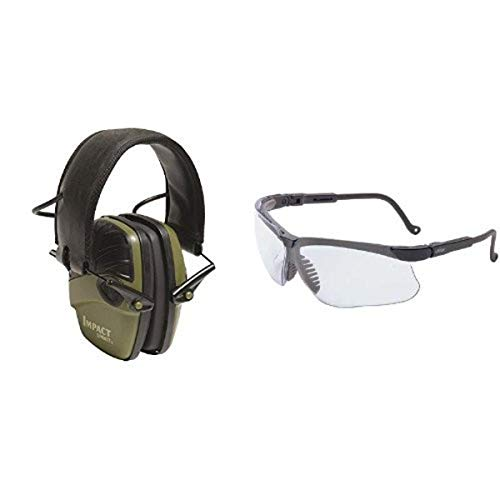 Howard Leight by Honeywell Classic Green Impact Sport Sound Amplification Electronic Earmuff with Clear Lens Safety Eyewear