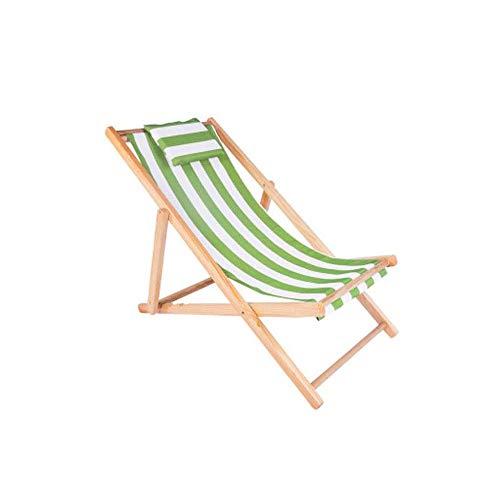 LEJZH Dekstoel Houten Zonnebank Zomer Strandstoel Tuin Opvouwbare Ligstoel met Kussen
