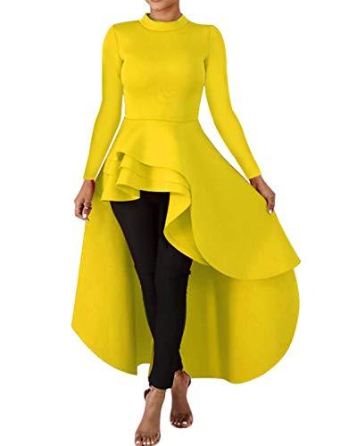 Womens High Low Shirt Dress - Elegant Ruffle Tunics Top Long Sleeve Maxi Evening Cocktail Dress Gown Yellow Plus Size
