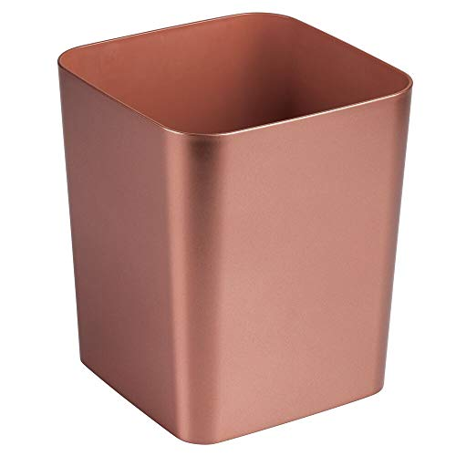 mDesign Square Shatter-Resistant Plastic Small Trash Can...