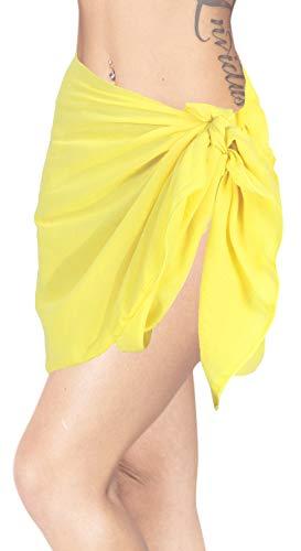 LA LEELA - Falda Pareo de algodón para Mujer - Amarillo - Talla Única
