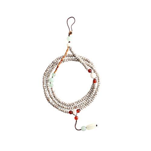 UKCOCO Lanière de Téléphone Portable Sangle Style Chinois Vintage Bodhi Perles Collier Long Cou Suspendu Corde Main Dragonne pour Clé Téléphone Id Tag Badge
