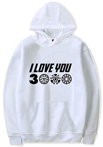 Silver Basic Sudadera para Mujer I Love You 3000 Iron-Man Hoodie Suéter de Ocio