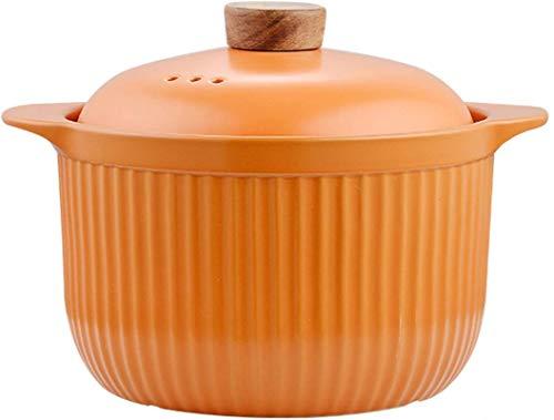 XY-M Sopa de Sopa de Sopa de Sopa Casserole Plato de Comida Vapor de Vapor Cacerola de cerámica Utensilios de Cocina con Tapa de Alta Temperatura Resistencia a la Cocina Stew Naranja 2.7L