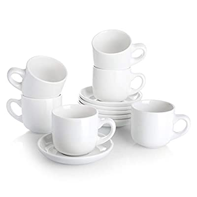 Teocera Porcelain Cappuccino Cups with Saucers - 6 Ounce for Coffee Drinks, Latte, Cafe Mocha and Tea - Set of 6, White