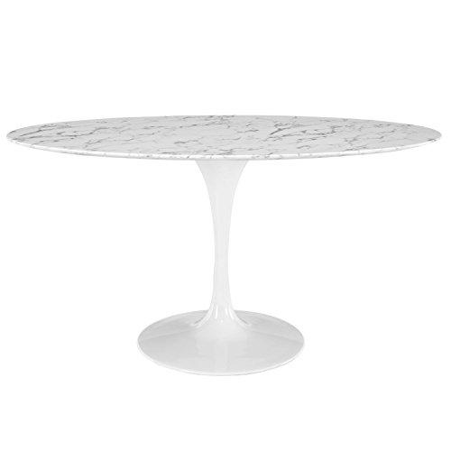 Modway MO-EEI-1135-WHI Lippa Mid-Century Modern Oval Artificial Marble Top, 60', White Base