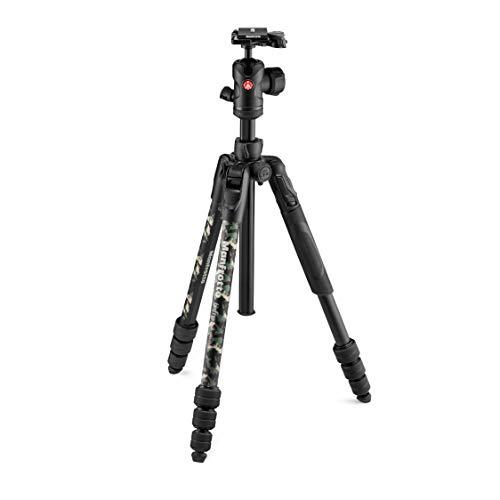 Manfrotto Befree Advanced Camo Reisestativ, Advanced Travel Tripod Kit, mit Kugelkopf mit Ergonomischen Bedienelementen, Drehverschluss, Fotostativ, Stativ für Videokameras und Kameras - Grün