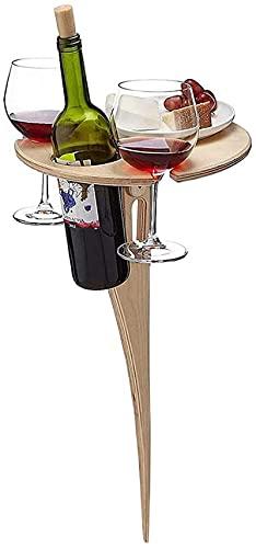 Mesa De Vino Al Aire Libre - Mesa De Vino PortáTil, Mesa De Picnic De Madera De Escritorio Redonda Plegable, para Exteriores, Jardín, Viajes - Regalo Ideal para Amantes del Vino (Madera)