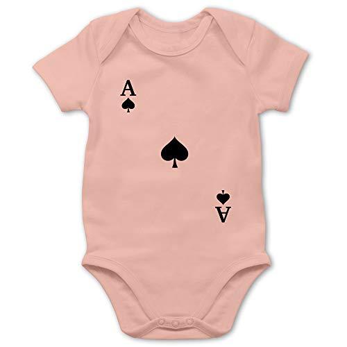 Karneval und Fasching Baby - Spielkarte Pik - 6/12 Monate - Babyrosa - Kartenspiel - BZ10 - Baby Body Kurzarm für Jungen und Mädchen