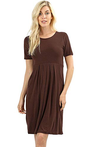 Women's Pleated Swing Dress Short Sleeve Casual T Shirt Loose Dress with Pockets - Americano (3X)