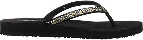 Skechers Women's Meditation-Perfect 10-Square Rhinestone Embellished Thong Flip-Flop, Black/Multi, M US