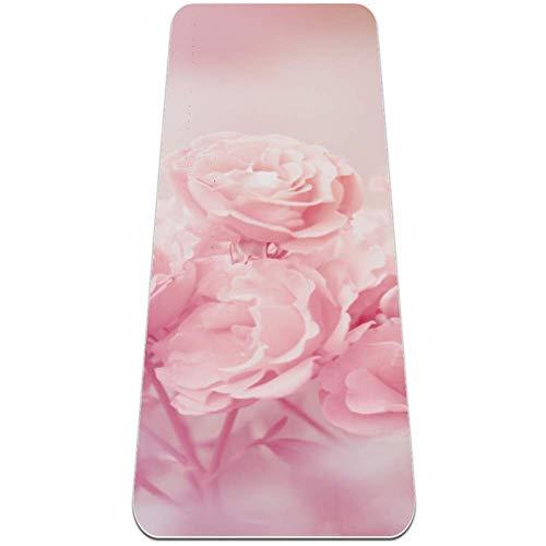 gdfgd Yoga-Matte mit rosafarbenen Rosen, 6 mm, TPE, umweltfreundlich, rutschfest, hohe Dichte, mit Tragegurt, für Yoga, Pilates und Intervalltraining