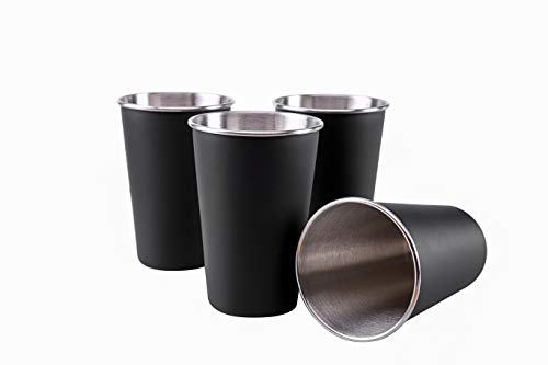 TDGOM 4 Pack 16oz Stainless Steel Cups Shatterproof Pint Drinking Cups Metal Drinking Glasses for Kids and Adults Picnic cups Black 500ml/16oz