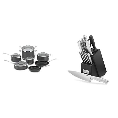 Cuisinart Contour Hard Anodized 13-Piece Cookware Set,Black & C77SS-15PK 15-Piece Stainless Steel Hollow Handle Block Set