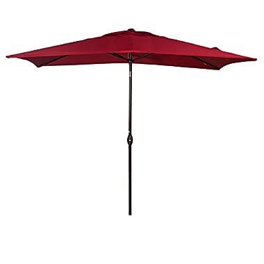 Abba Patio Rectangular Patio Umbrella Outdoor Market Table Umbrella with Push Button Tilt and Crank, 6.6 by 9.8 Ft, Red
