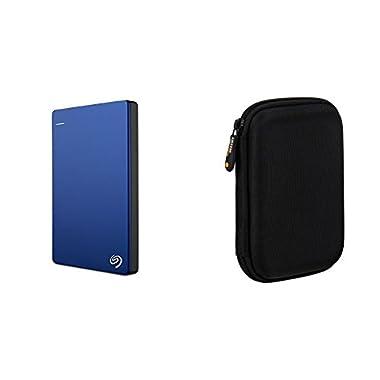 Seagate Backup Plus Slim 2TB Portable External Hard Drive USB 3.0, Blue (STDR2000102) + AmazonBasics External Hard Drive Case
