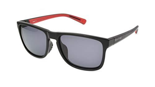 Reebok Gafas de sol para hombre R9312/01, clásicas, polarizadas, color negro, transparente, talla única