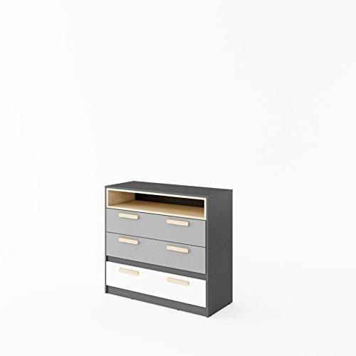 Furniture24 Kommode POK P08, Schubladenkommodem, Schubkastenkommode, Kommode für Jugendzimmer und Kinderzimmer
