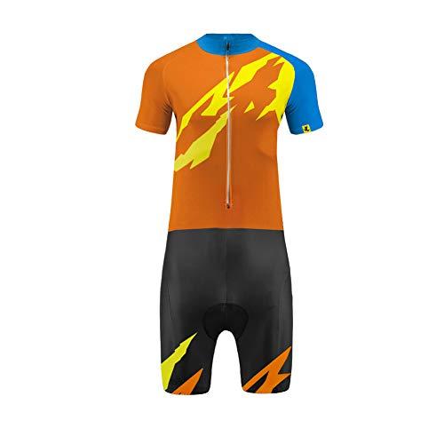 Uglyfrog Wear Triathlon Einteiler Herren Radsport Anzüge | FX Trisuit | Wettkampf | Frontreißverschluss | Kurzarm/Langer Schaft Oberteil+Kurze Beine mit Gelkissen