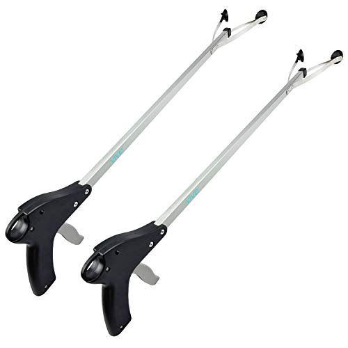 Vive Suction Cup Reacher Grabber (2 Pack) - 32 Inch Heavy Duty Mobility Grip Hand Aid - Handle Tool Light Bulb Remover, Long Handled Trash Litter Picker, Garbage Garden Nabber, Extender Arm Pickup