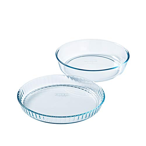 Pyrex - Bake & Enjoy - Set of a Glass flan Dish 28 cm and a Cake Dish 26 cm